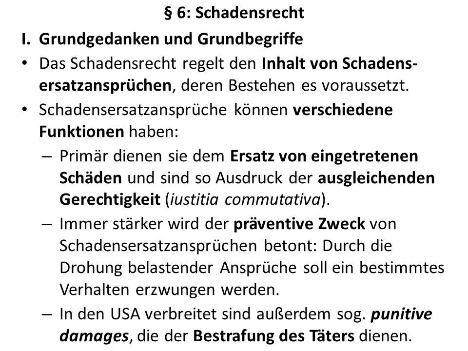 § 6: Schadensrecht Grundgedanken und Grundbegriffe.
