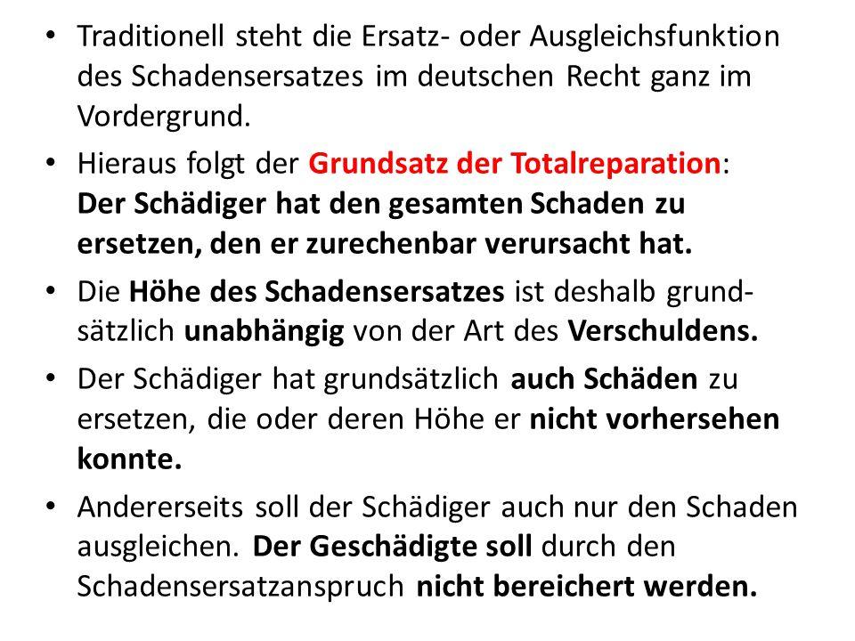 Traditionell steht die Ersatz- oder Ausgleichsfunktion des Schadensersatzes im deutschen Recht ganz im Vordergrund.