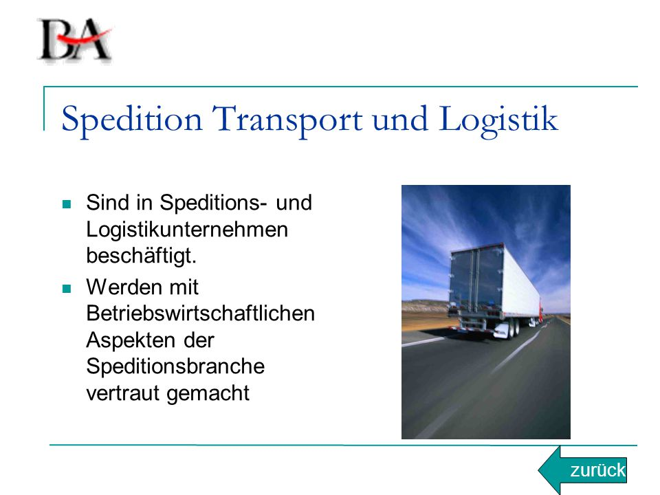 Spedition Transport und Logistik