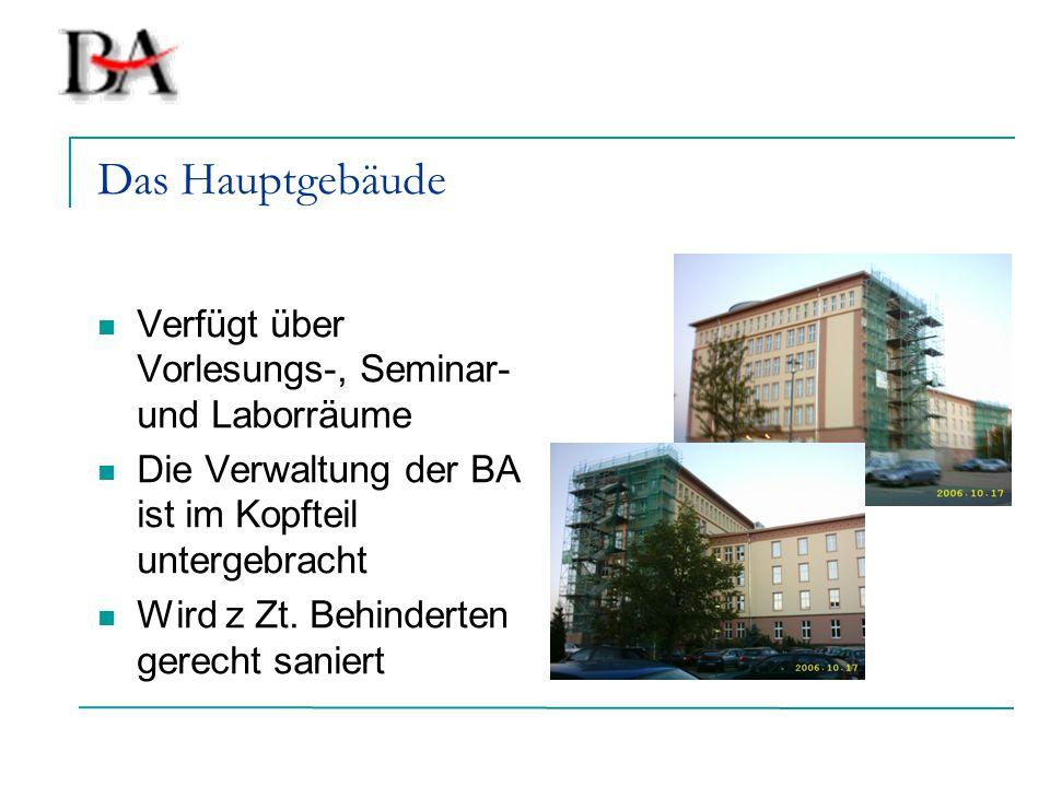 Das Hauptgebäude Verfügt über Vorlesungs-, Seminar- und Laborräume