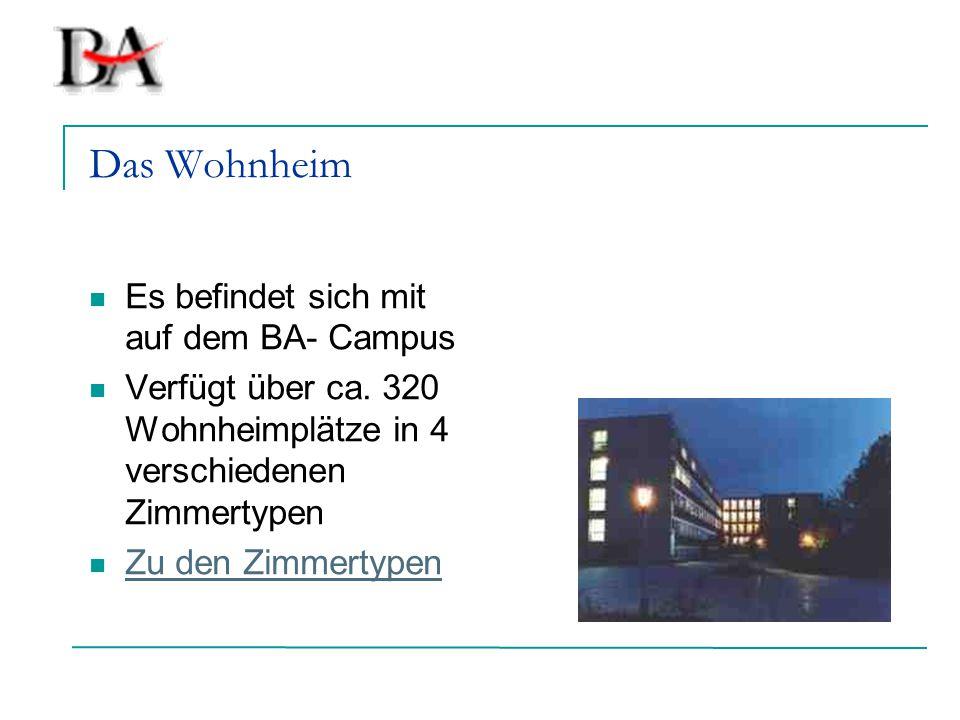 Das Wohnheim Es befindet sich mit auf dem BA- Campus