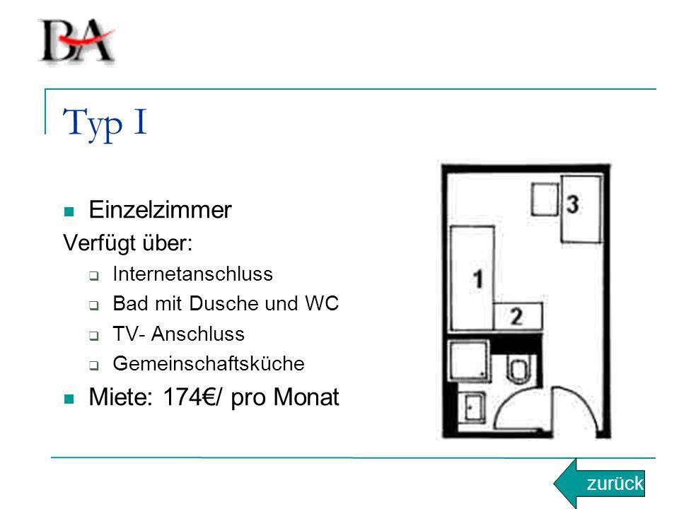 Typ I Einzelzimmer Miete: 174€/ pro Monat Verfügt über: