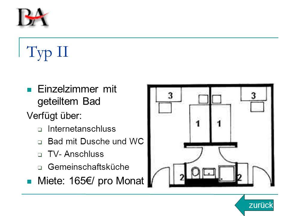 Typ II Einzelzimmer mit geteiltem Bad Miete: 165€/ pro Monat