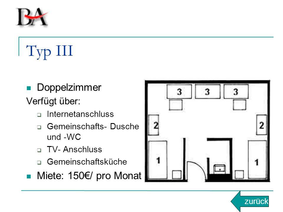 Typ III Doppelzimmer Miete: 150€/ pro Monat Verfügt über: