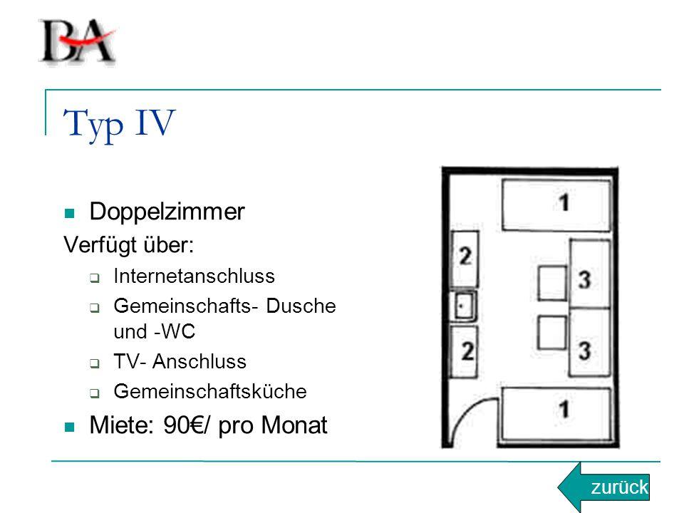 Typ IV Doppelzimmer Miete: 90€/ pro Monat Verfügt über: