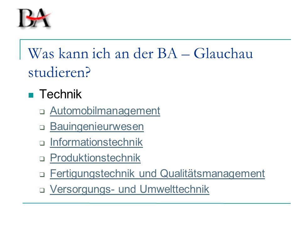 Was kann ich an der BA – Glauchau studieren