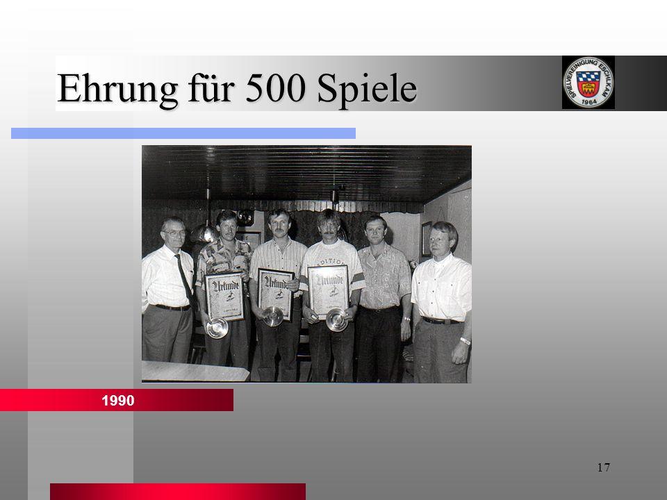 Ehrung für 500 Spiele 1990