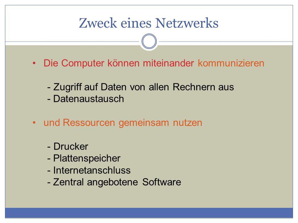 Zweck eines Netzwerks Die Computer können miteinander kommunizieren