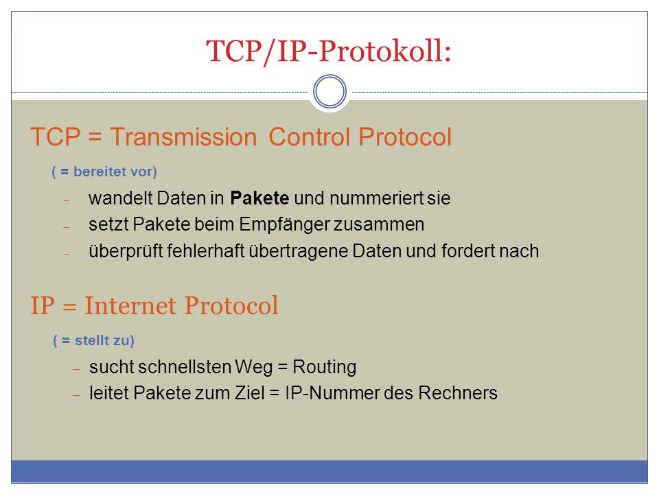 TCP/IP-Protokoll: TCP = Transmission Control Protocol ( = bereitet vor) wandelt Daten in Pakete und nummeriert sie.