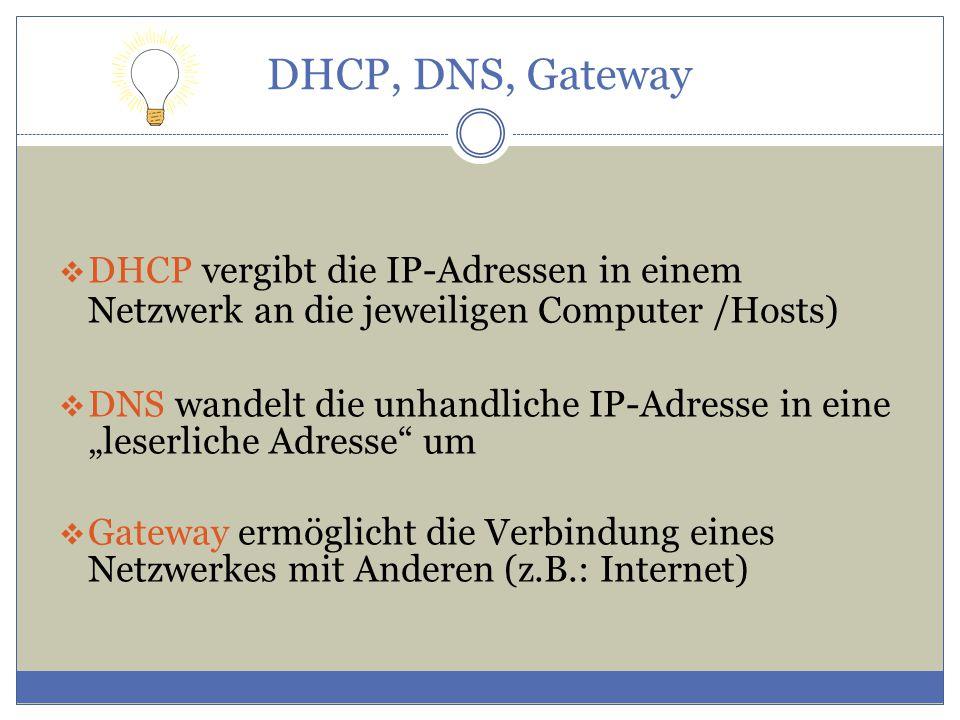 DHCP, DNS, Gateway DHCP vergibt die IP-Adressen in einem Netzwerk an die jeweiligen Computer /Hosts)