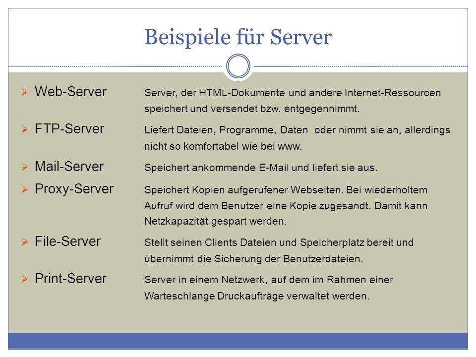 Beispiele für Server Web-Server Server, der HTML-Dokumente und andere Internet-Ressourcen speichert und versendet bzw. entgegennimmt.