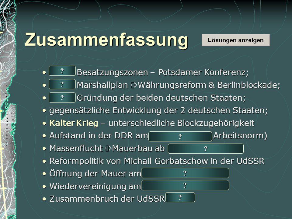 Zusammenfassung 1945: Besatzungszonen – Potsdamer Konferenz;