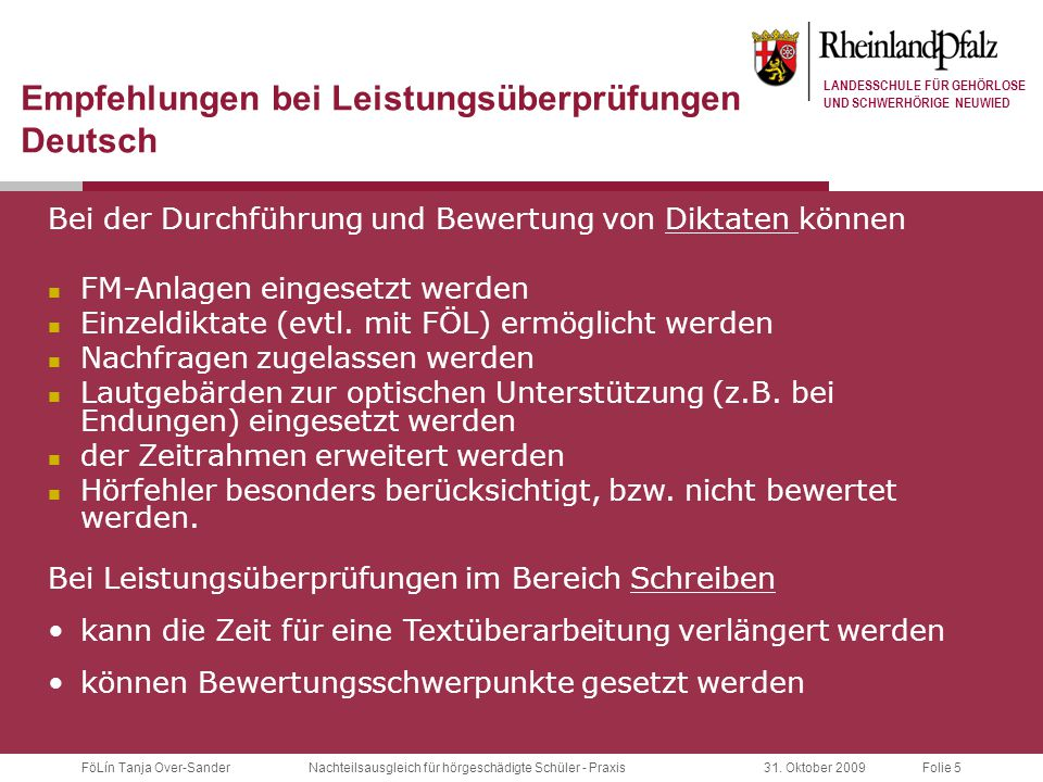 Empfehlungen bei Leistungsüberprüfungen Deutsch