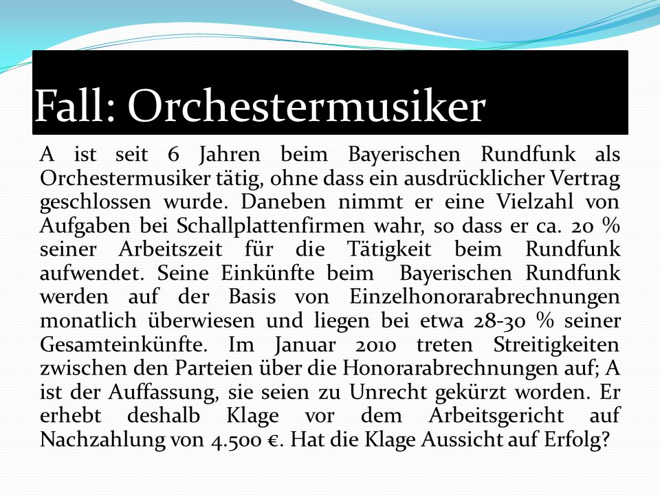 Fall: Orchestermusiker