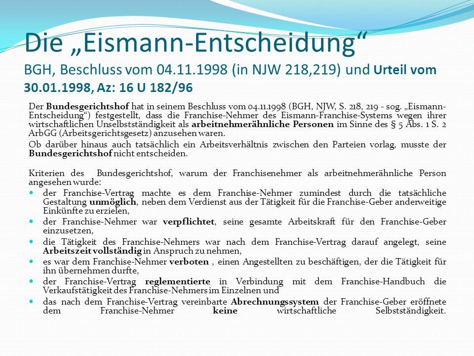 """Die """"Eismann-Entscheidung BGH, Beschluss vom 04. 11"""