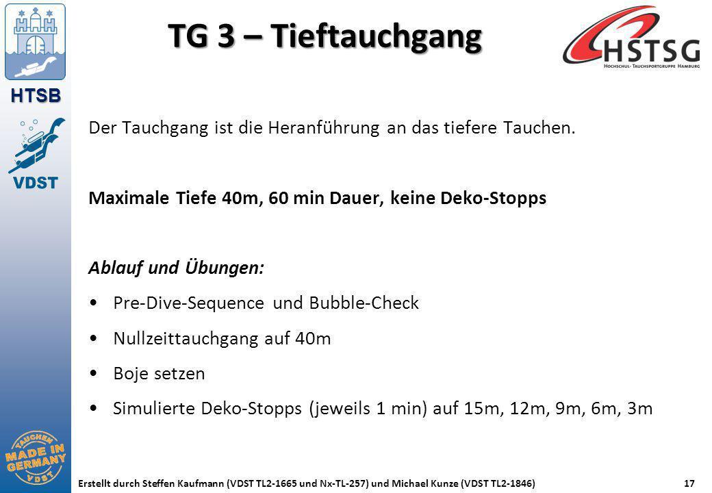 TG 3 – Tieftauchgang Der Tauchgang ist die Heranführung an das tiefere Tauchen. Maximale Tiefe 40m, 60 min Dauer, keine Deko-Stopps.