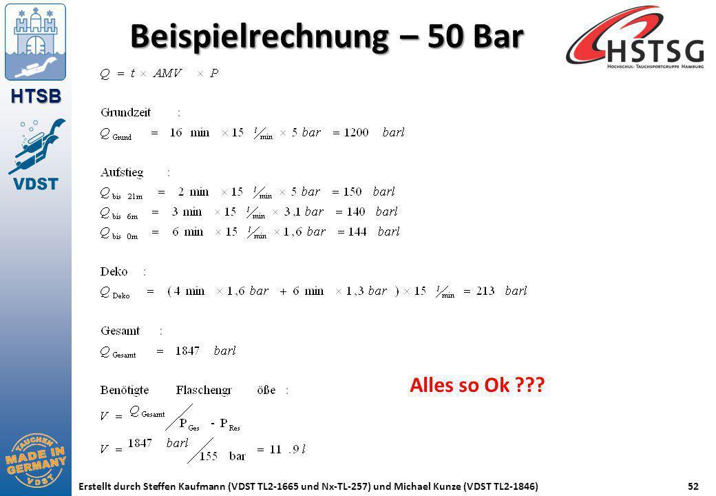 Beispielrechnung – 50 Bar
