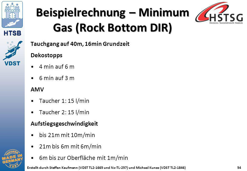 Beispielrechnung – Minimum Gas (Rock Bottom DIR)