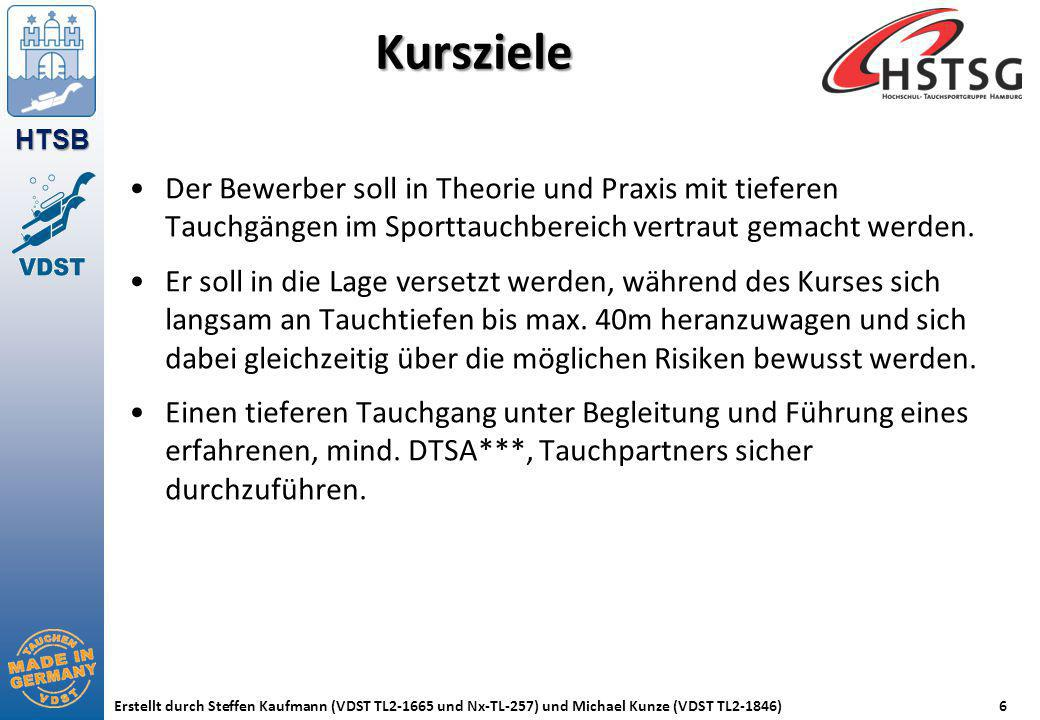 Kursziele Der Bewerber soll in Theorie und Praxis mit tieferen Tauchgängen im Sporttauchbereich vertraut gemacht werden.