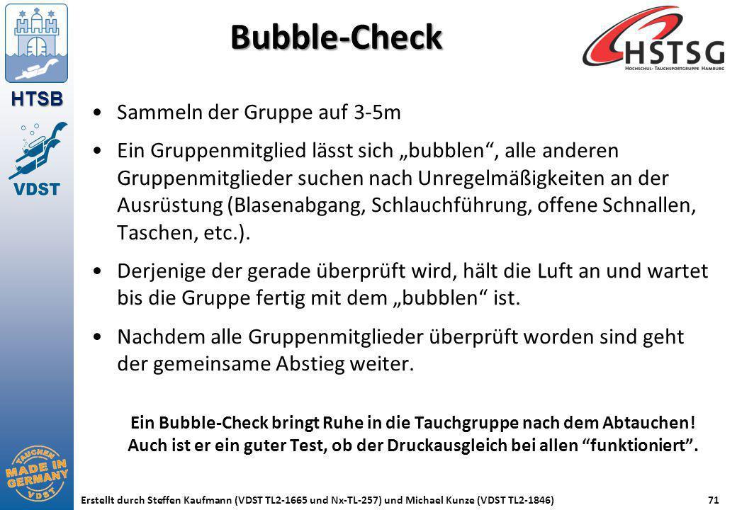 Bubble-Check Sammeln der Gruppe auf 3-5m