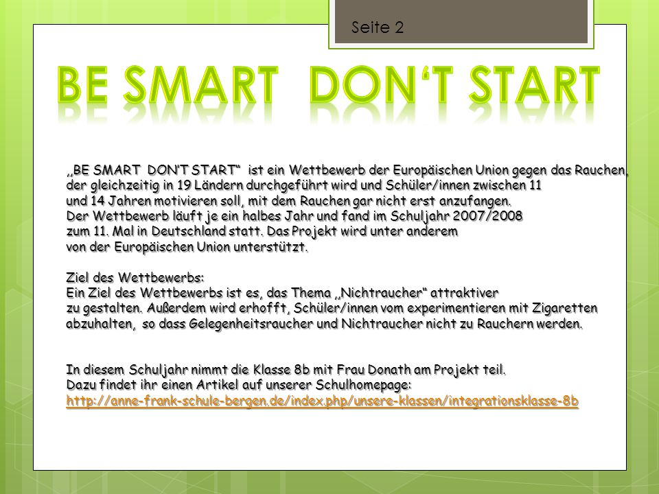 Be Smart don't start Seite 2