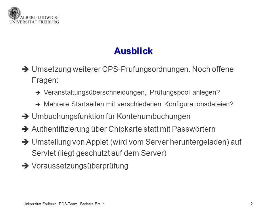 Ausblick Umsetzung weiterer CPS-Prüfungsordnungen. Noch offene Fragen: