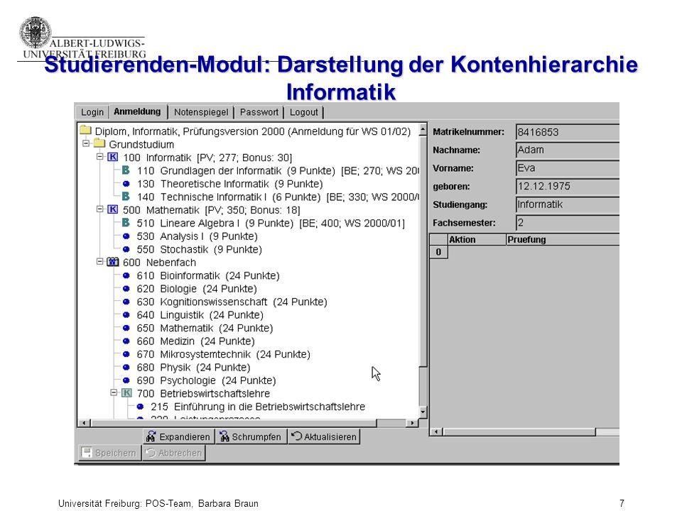 Studierenden-Modul: Darstellung der Kontenhierarchie Informatik