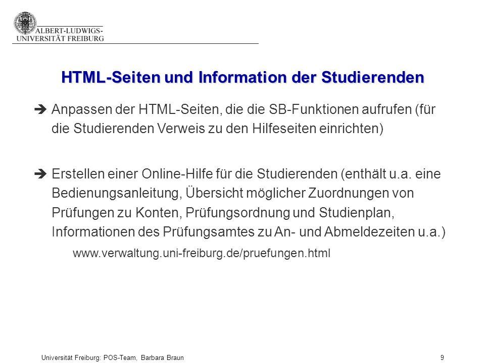 HTML-Seiten und Information der Studierenden