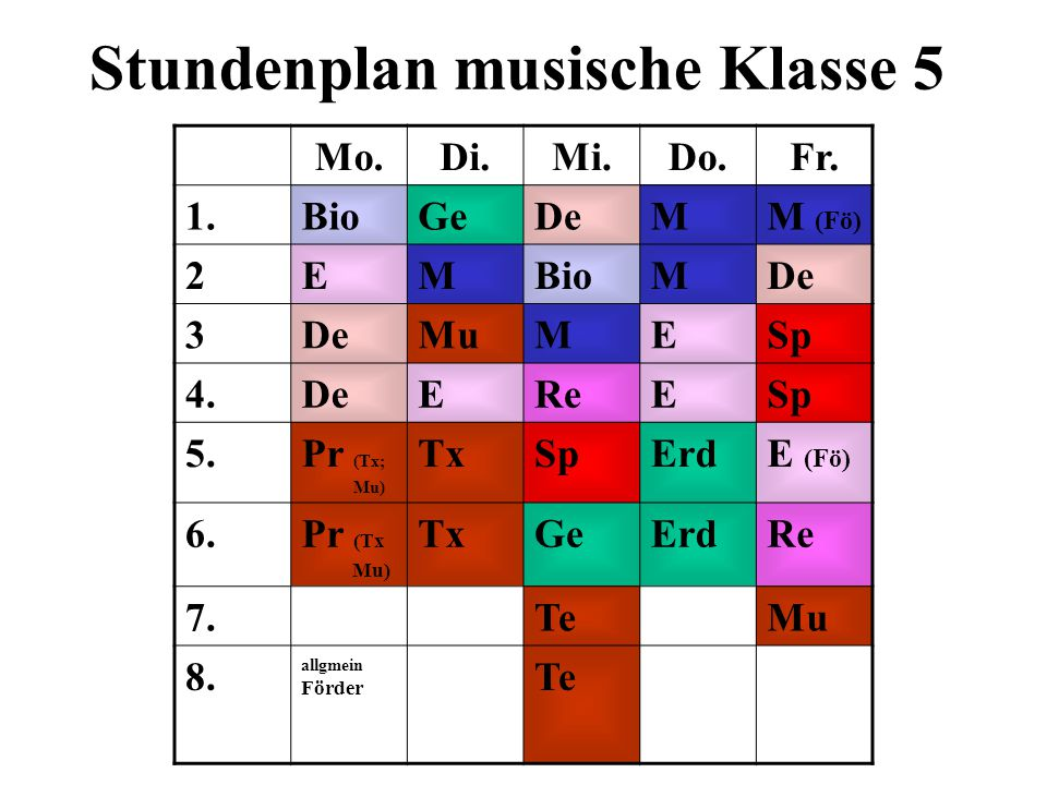 Stundenplan musische Klasse 5