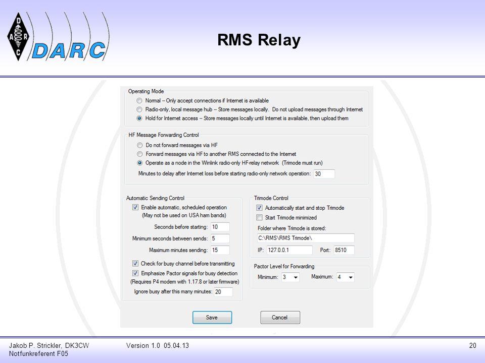 RMS Relay Jakob P. Strickler, DK3CW Notfunkreferent F05