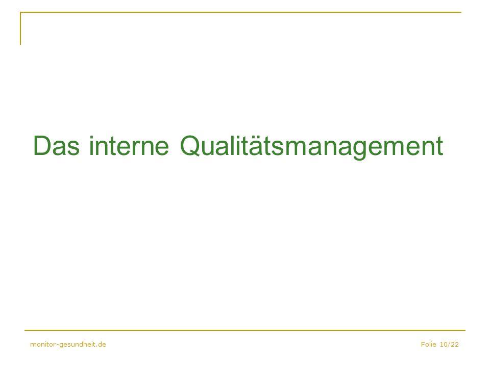 Das interne Qualitätsmanagement