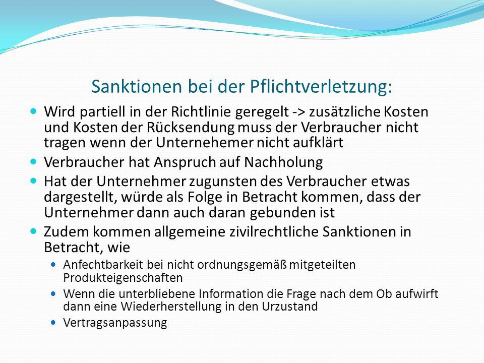 Sanktionen bei der Pflichtverletzung: