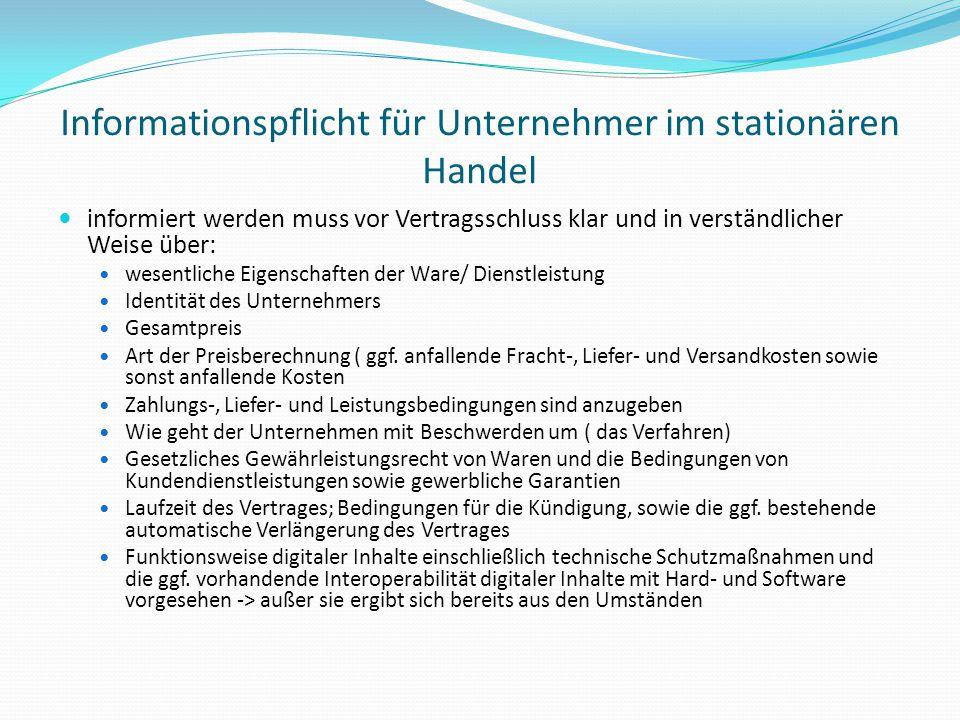 Informationspflicht für Unternehmer im stationären Handel