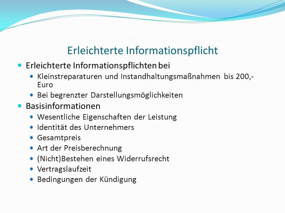 Erleichterte Informationspflicht