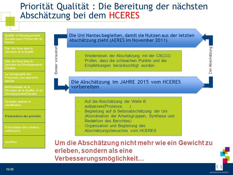 Priorität Qualität : Vereinfachung der Verwaltungsprozesse