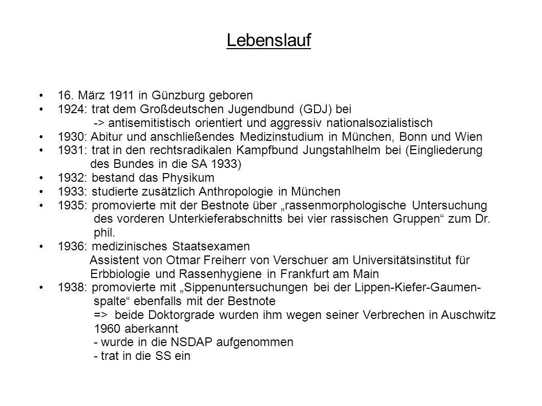 Lebenslauf 16. März 1911 in Günzburg geboren