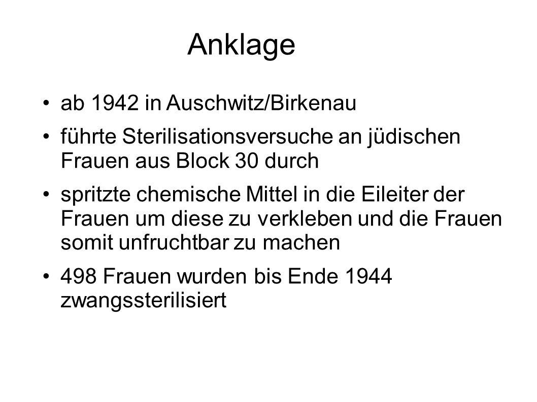 Anklage ab 1942 in Auschwitz/Birkenau