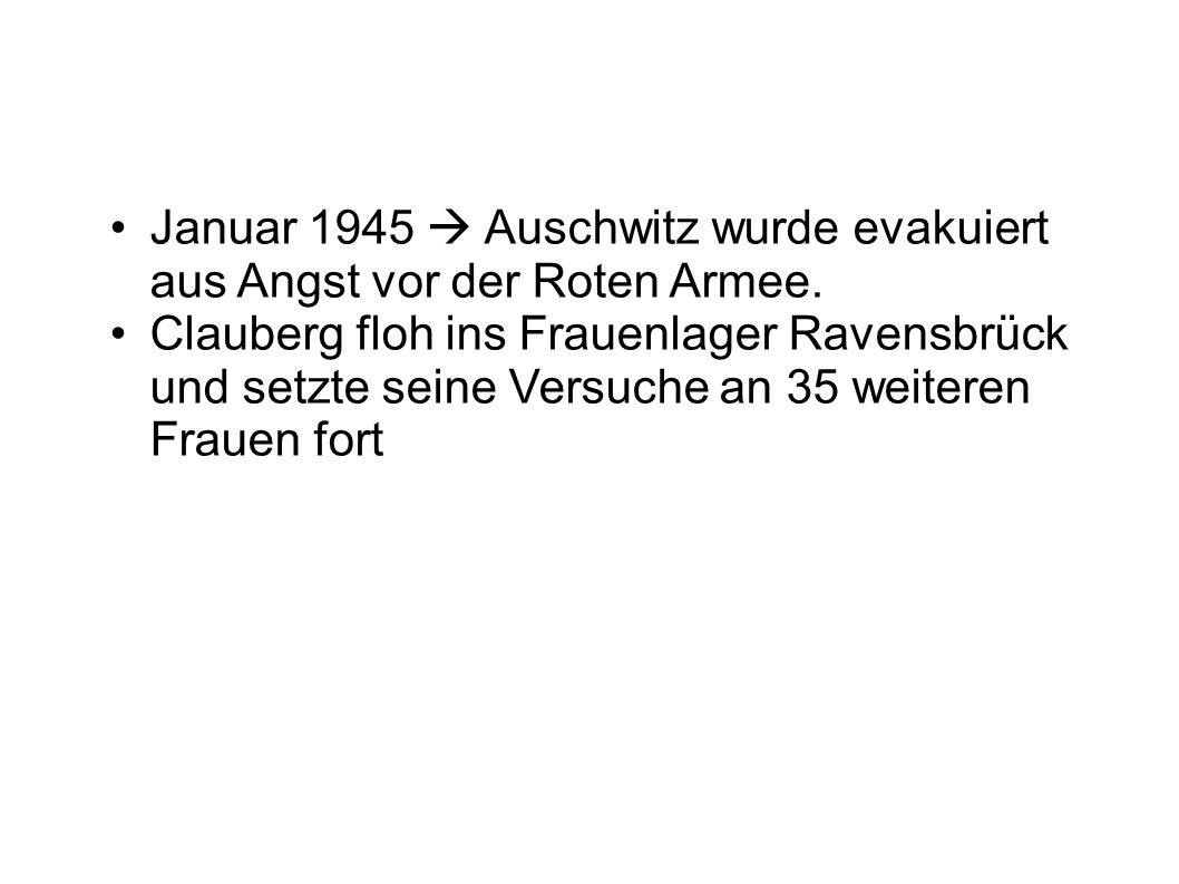 Januar 1945  Auschwitz wurde evakuiert aus Angst vor der Roten Armee.