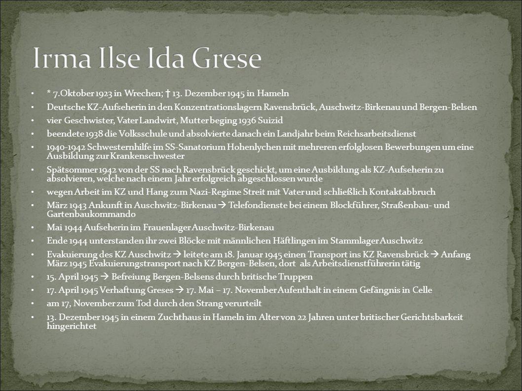 * 7.Oktober 1923 in Wrechen; † 13. Dezember 1945 in Hameln