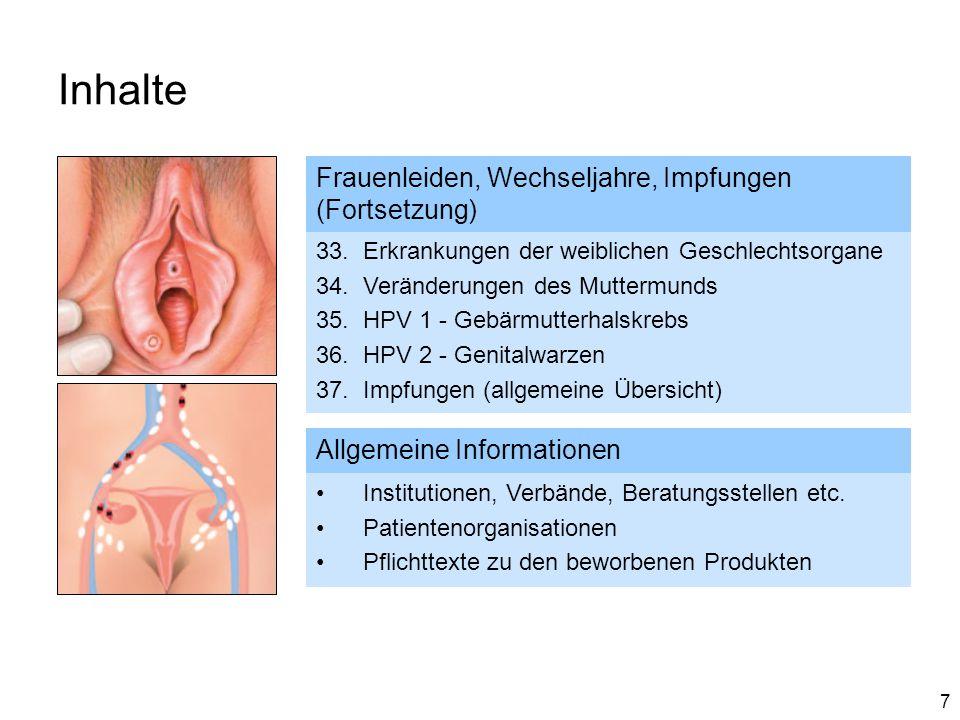 Inhalte Frauenleiden, Wechseljahre, Impfungen (Fortsetzung)