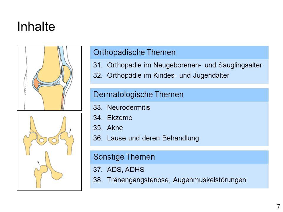 Inhalte Orthopädische Themen Dermatologische Themen Sonstige Themen