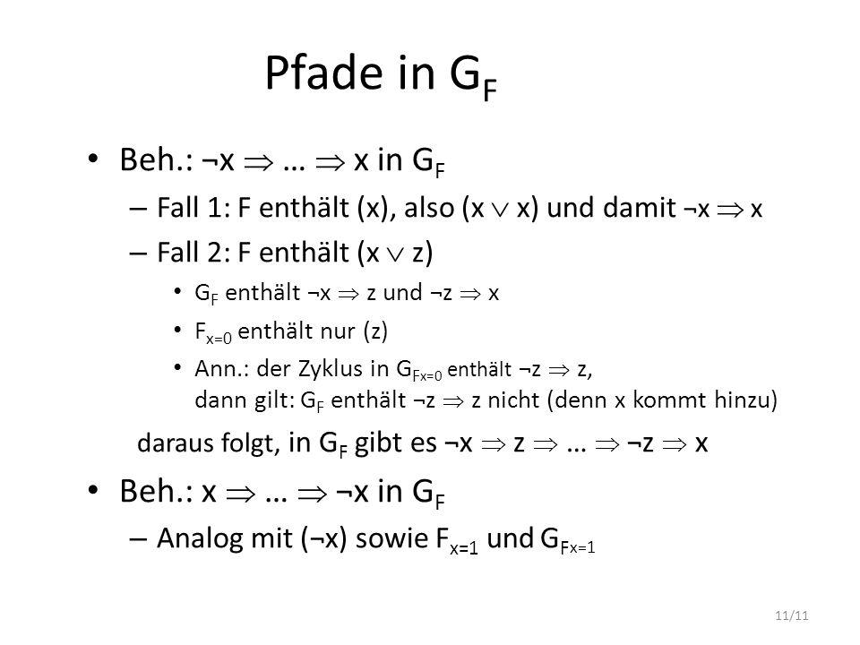 Pfade in GF Beh.: ¬x  …  x in GF Beh.: x  …  ¬x in GF