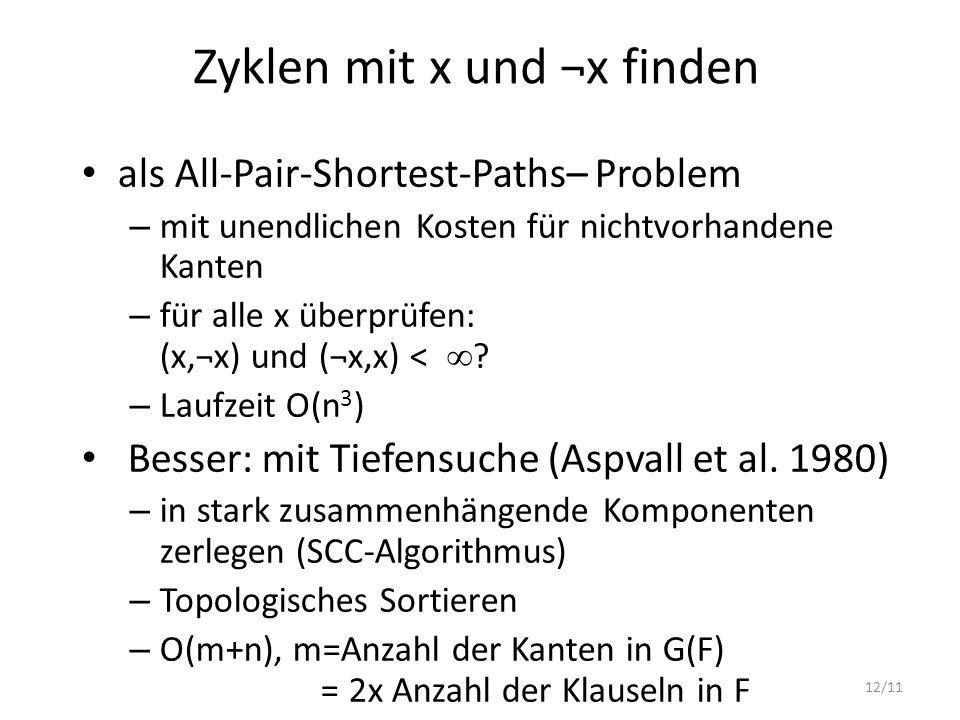 Zyklen mit x und ¬x finden