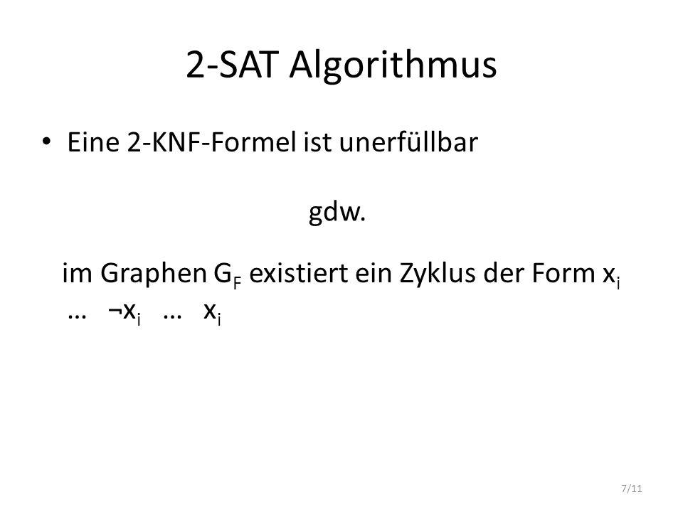2-SAT Algorithmus Eine 2-KNF-Formel ist unerfüllbar