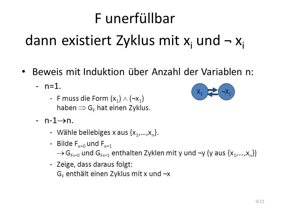 F unerfüllbar dann existiert Zyklus mit xi und ¬ xi