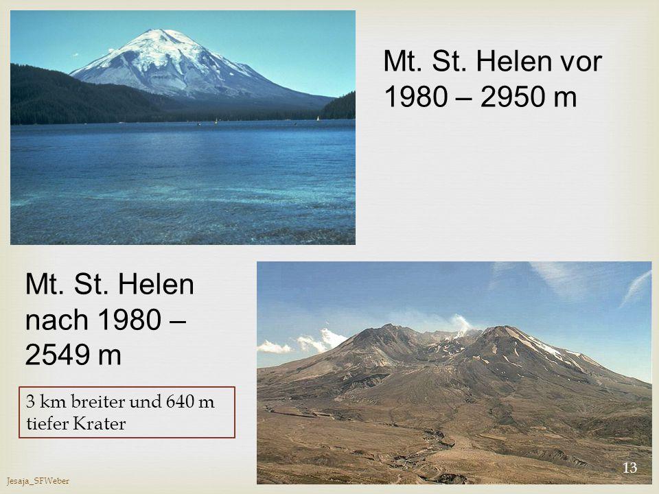 Mt. St. Helen vor 1980 – 2950 m Mt. St. Helen nach 1980 – 2549 m