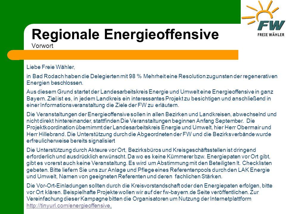 Regionale Energieoffensive Vorwort