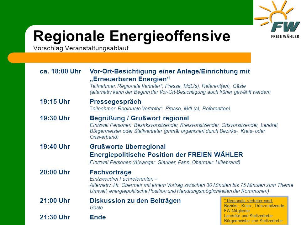 Regionale Energieoffensive Vorschlag Veranstaltungsablauf