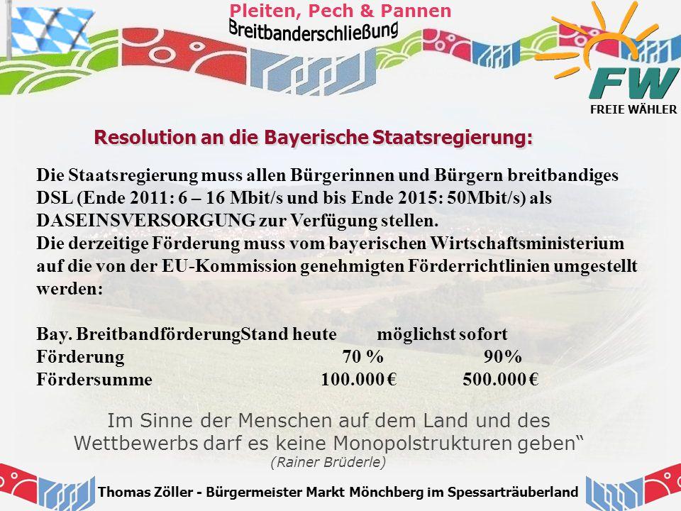 Resolution an die Bayerische Staatsregierung: