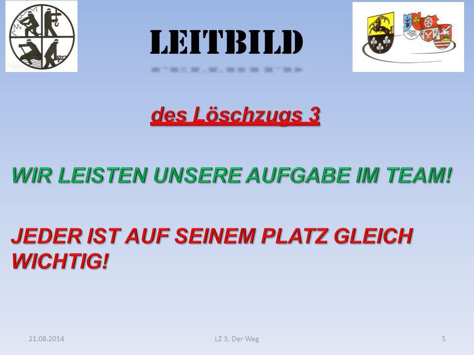 LEITBILD des Löschzugs 3 WIR LEISTEN UNSERE AUFGABE IM TEAM! JEDER IST AUF SEINEM PLATZ GLEICH WICHTIG!